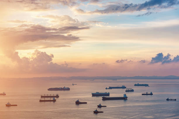aerial view asian container ships freight transportation sunrise - singapore nature stock photos and pictures