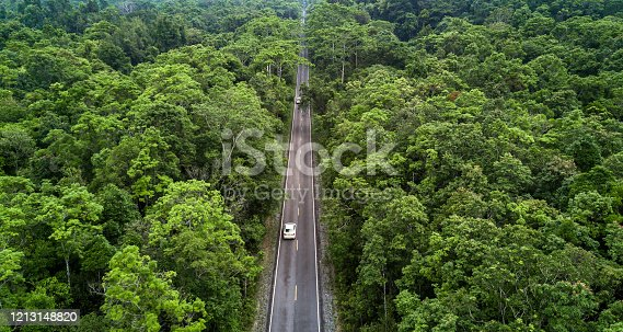 1042711480 istock photo Aerial view asphalt road and green forest, Forest road going through forest with car adventure view from above, Ecosystem and ecology healthy environment concepts and background. 1213148820