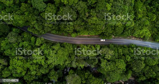 Photo of Aerial view asphalt road and green forest, Forest road going through forest with car adventure view from above, Ecosystem and ecology healthy environment concepts and background.
