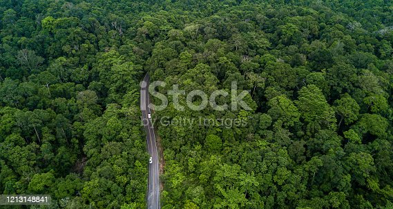 1042711480 istock photo Aerial view asphalt road and green forest, Forest road going through forest with car adventure view from above, Ecosystem and ecology healthy environment concepts and background. 1213148841