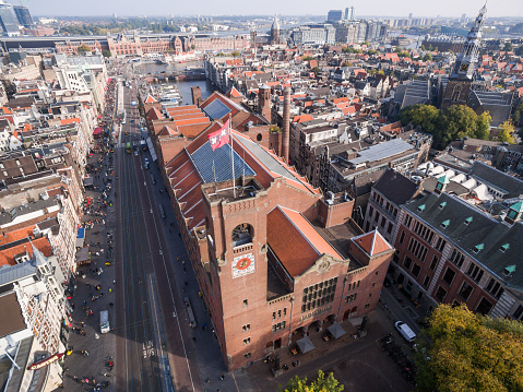 istock Aerial view at Amsterdam city, near exchange house 615985312