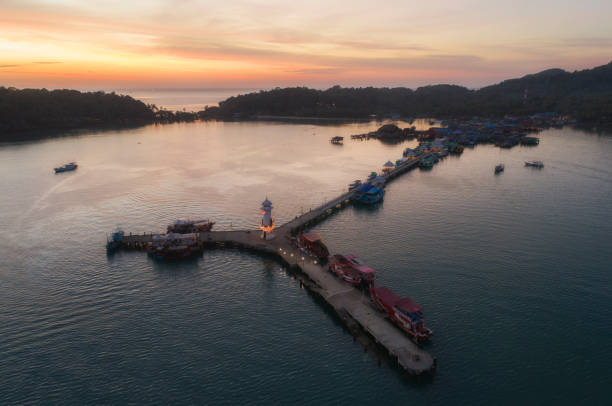 Aerial view (drone shot) at Bangbao Pier, Koh Chang, Thailand Aerial view (drone shot) at Bangbao Pier, Koh Chang, Thailand koh chang stock pictures, royalty-free photos & images