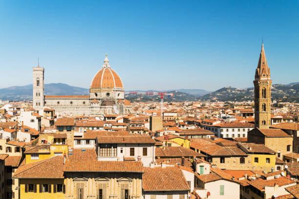 Aerial view at Florence and Duomo Santa Maria stock photo