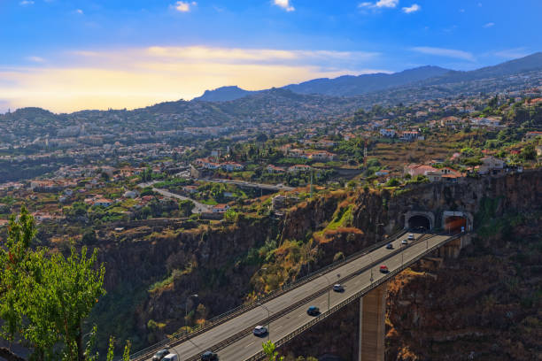 Aerial view at Funchal from Monte with a freeway bridge in foreground stock photo