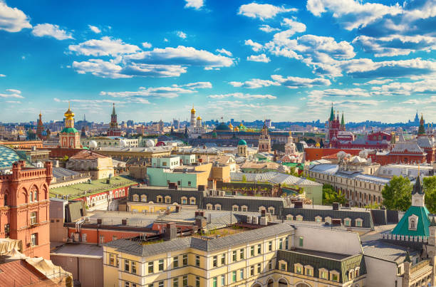 Aerial view at historic center of Moscow, Russia View of the center of Moscow from the observation deck of the Central Children's Store on Lubyanka. moscow russia stock pictures, royalty-free photos & images