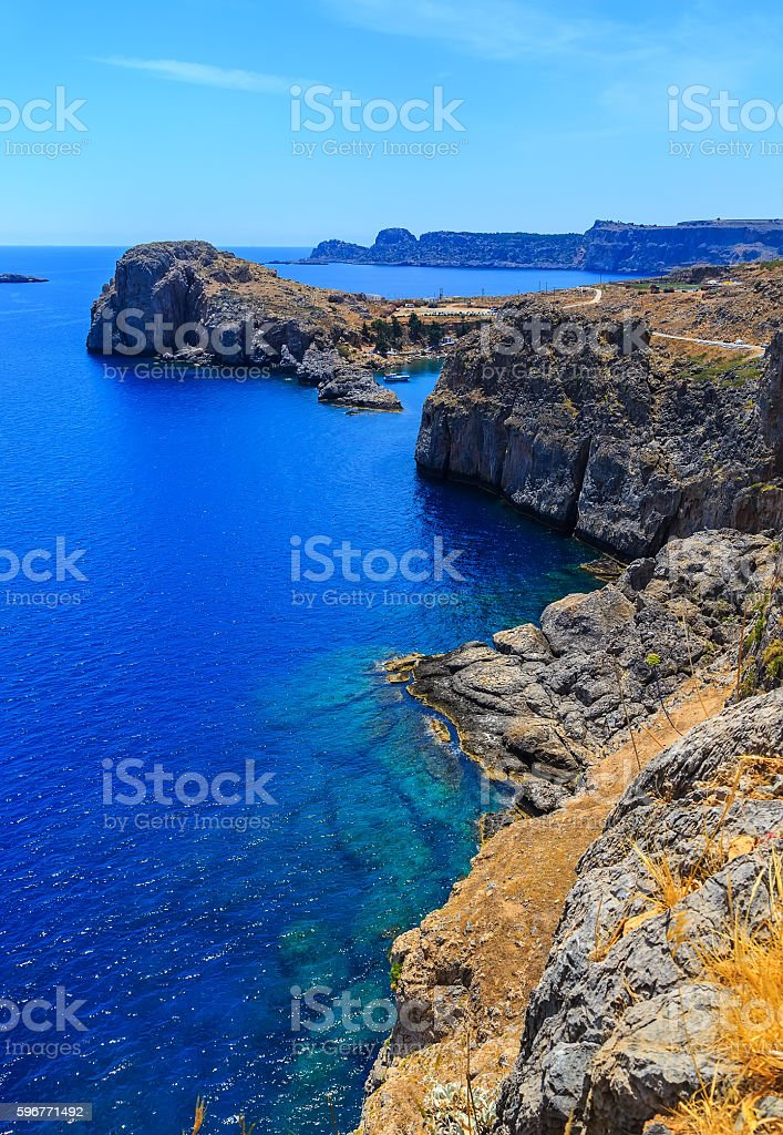 Aerial View at Saint Paul Bay from Lindos Rhodes island stock photo