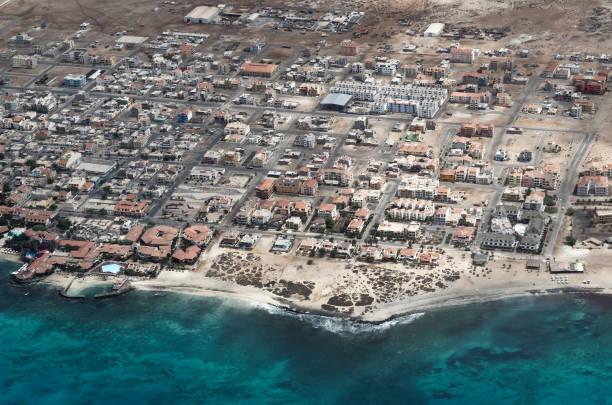 Aerial view at Santa Maria from airplane stock photo
