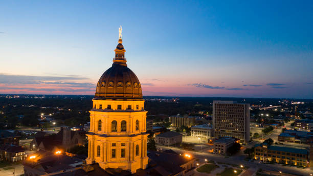 Aerial View at Sunset over the State Capital Building in Topeka Kansas USA stock photo