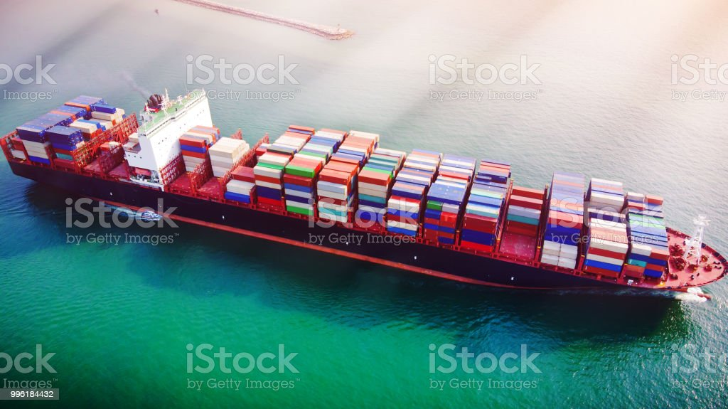 Aerial View At Sunset The Cargo Will Be Shipped From