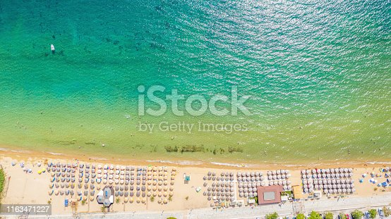 811600544 istock photo Aerial view at the beach. Beautiful natural seascape at the summer time. 1163471227