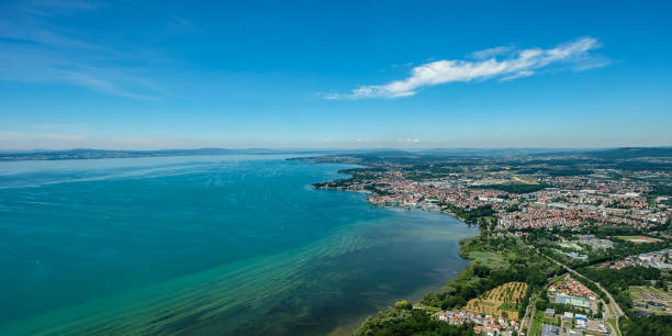 Aerial view at the city of Friedrichshafen at Lake Constance Aerial view at the city of Friedrichshafen at Lake Constance in summer Bodensee stock pictures, royalty-free photos & images