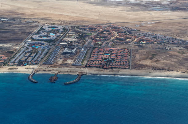 Aerial view at the resort area on the island Sal, Cape Verde stock photo
