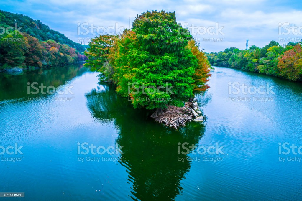 Aerial view at the tip of the Peninsula at Red Bud Isle autumn landscape Fall comes to Austin Texas stock photo