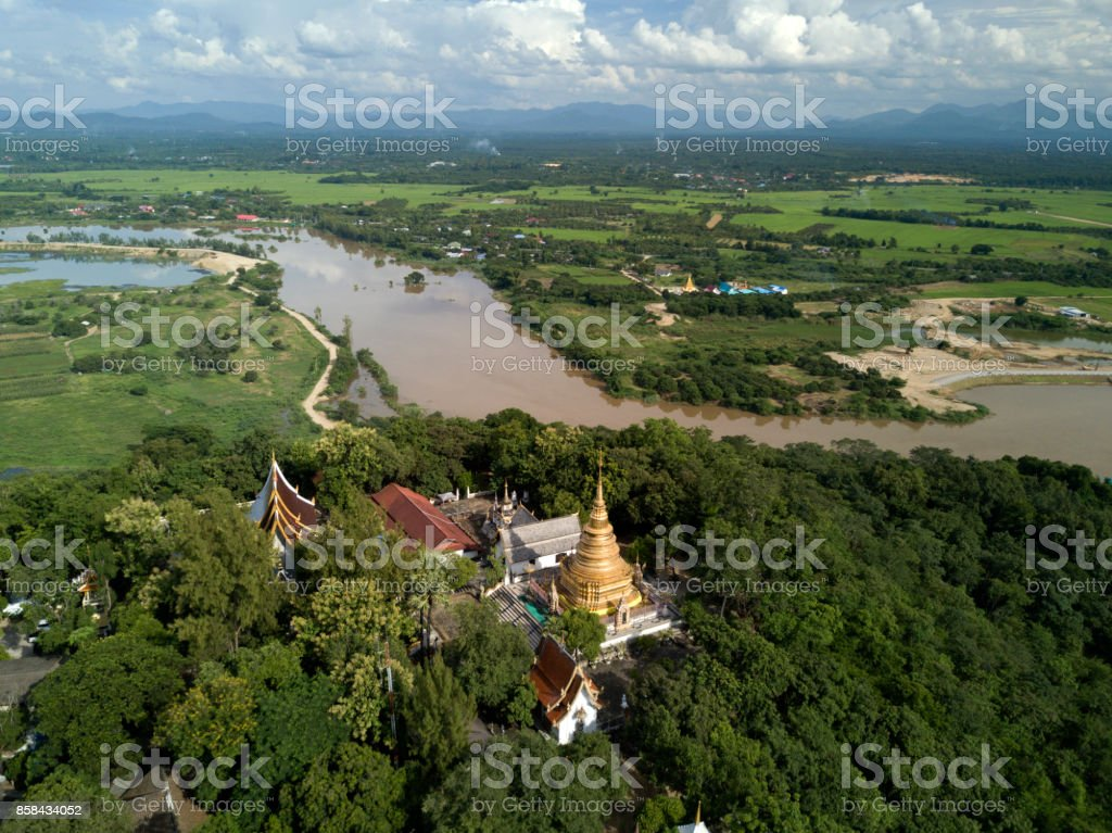 Aerial view at Wat Phra That Doi Noi temple in Chiangmai, Thailand. stock photo