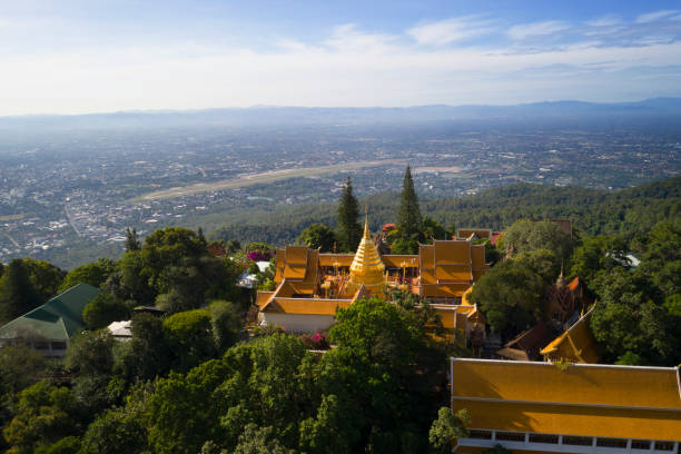 Aerial view at Wat Phra That Doi Suthep temple in Chiangmai, Thailand. stock photo