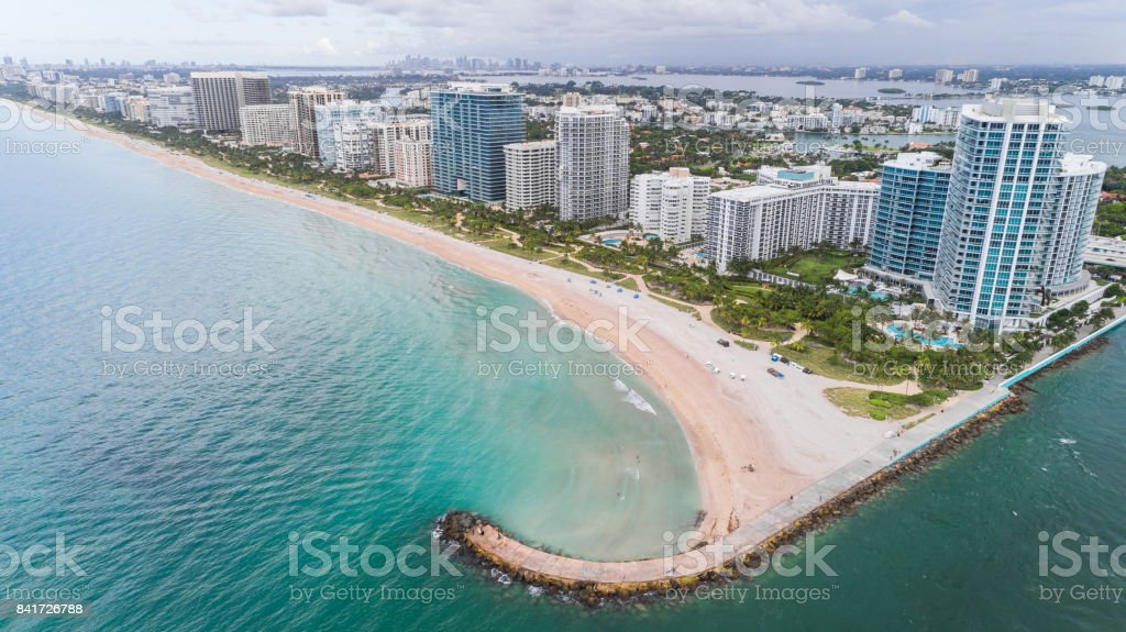 Aerial View Bal Harbour Beach stock photo