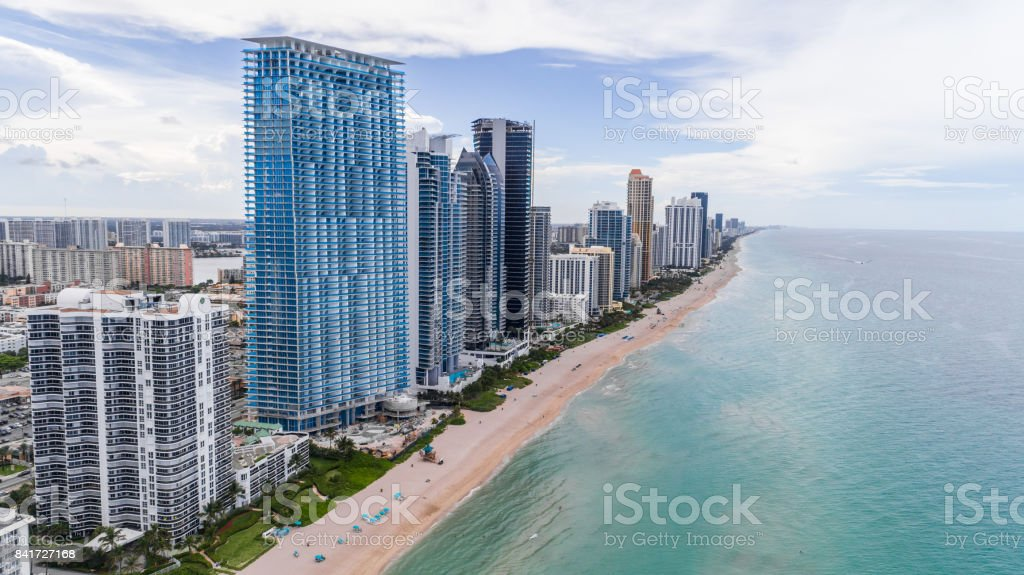 Aerial View Bal Sunny Isles Beach stock photo