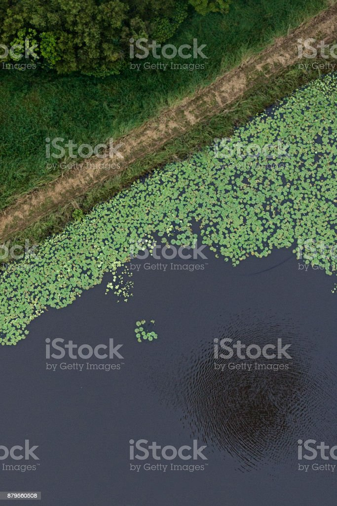 Aerial View ballooning over water stock photo