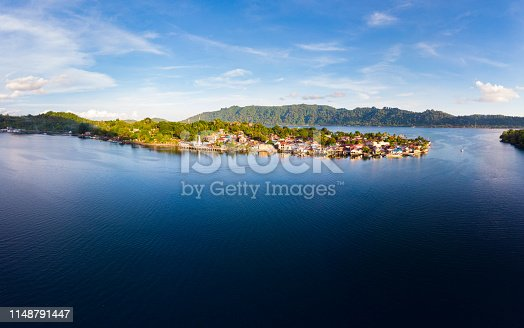 Aerial view Banda Islands Moluccas archipelago Indonesia, Bandaneira village Maluku, coral reef caribbean sea. Top travel tourist destination, best diving snorkeling.