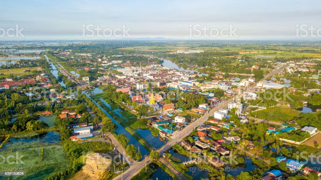 Aerial View Bang Mul Nak Province Phichit Thailand stock photo
