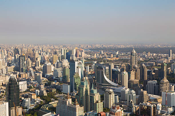 Aerial view, Bangkok city downtown, central business and office building圖像檔