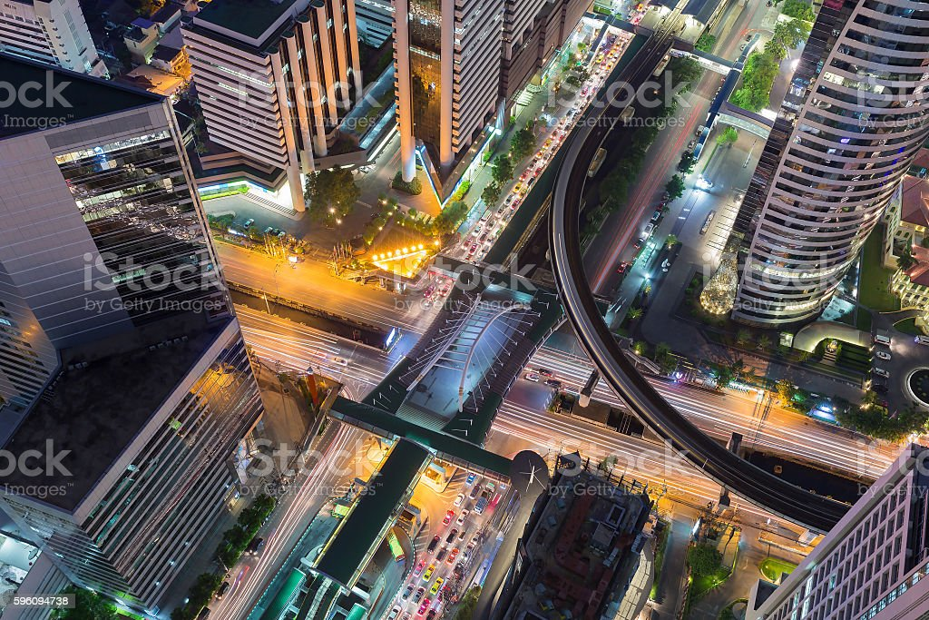 Aerial view Bangkok city road intersection royalty-free stock photo