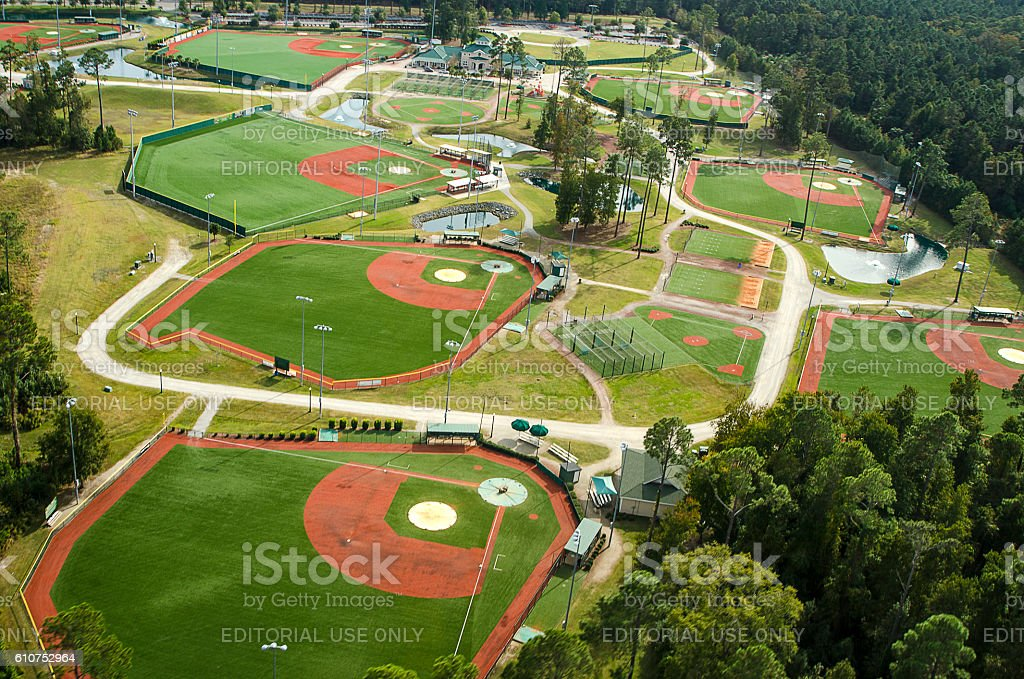 Aerial View, Baseball and Softball Field, Myrtle Beach, South Carolina stock photo