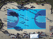 Aerial view basketball field at Venice Beach, Los Angeles, California, USA. Venice basketball courts, which since the early '90s have been known as a hub of street basketball.