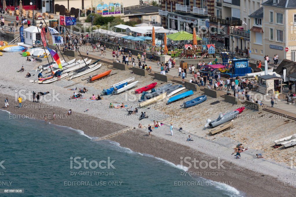 Aerial view beach and promenade of Etretat in Normandy, France stock photo