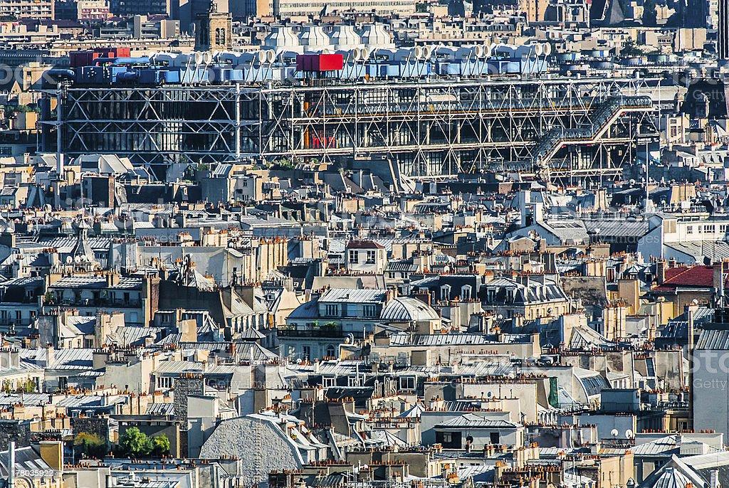 aerial view beaubourg paris cityscape  France stock photo