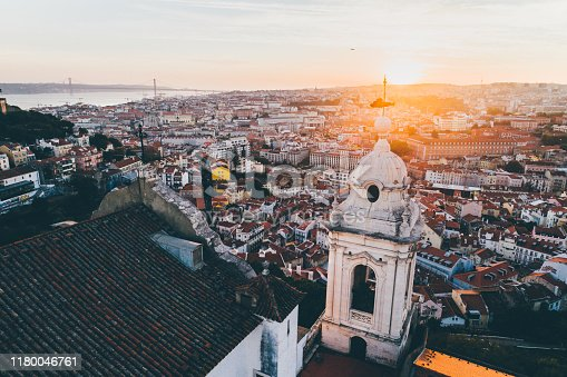 istock Aerial view beautiful cityscape of Lisbon at sunset. 1180046761