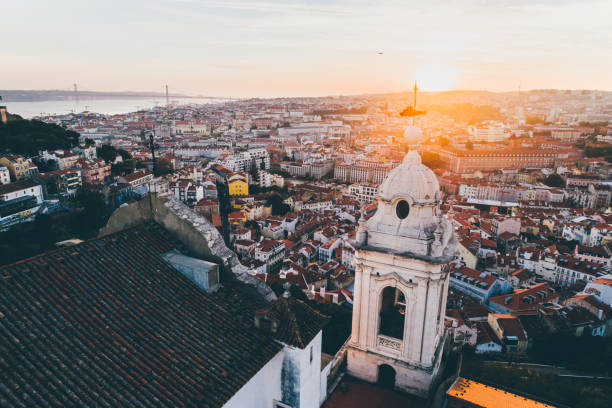 Aerial view beautiful cityscape of Lisbon at sunset. stock photo