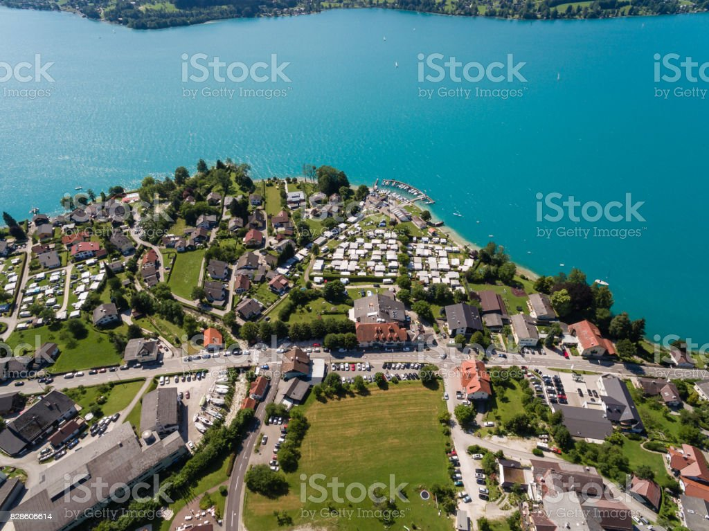 Aerial view, beautiful clear alpine lake Attersee with green water, salzkammergut, Austria stock photo