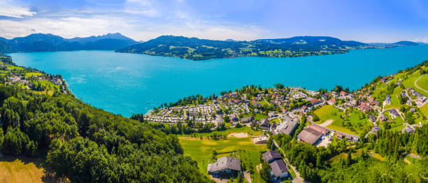 Aerial view, beautiful clear alpine lake Attersee with green water, salzkammergut, Austria