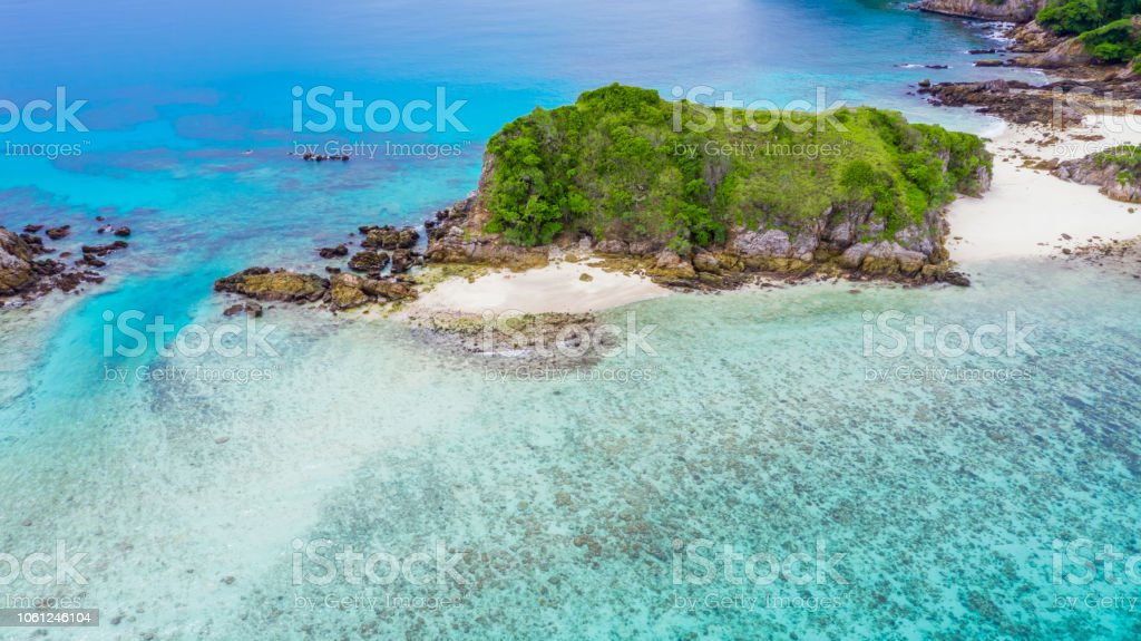 Aerial view beautiful tropical white sand beach and snorkel point at Cockburn Island, Andaman sea, Ranong, Myanmar. stock photo