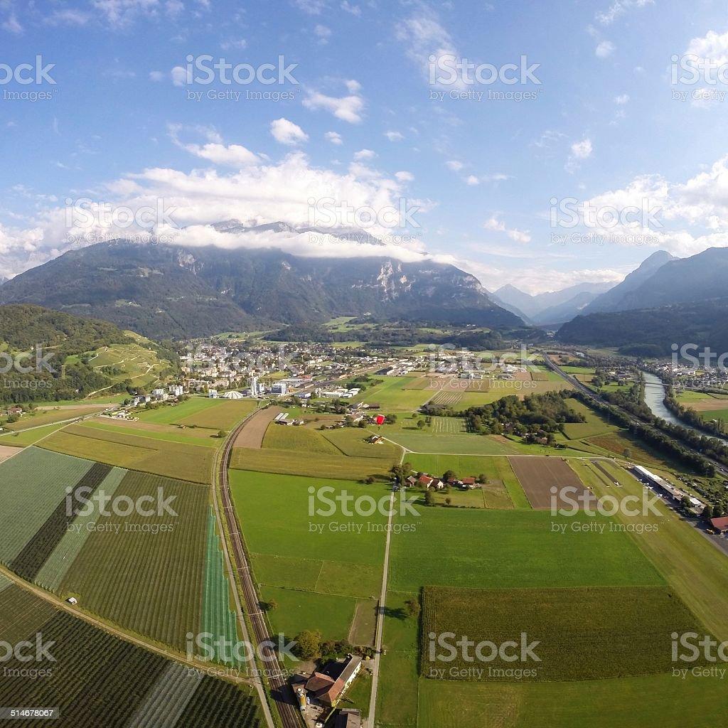 Aerial View - Bex, Switzerland stock photo