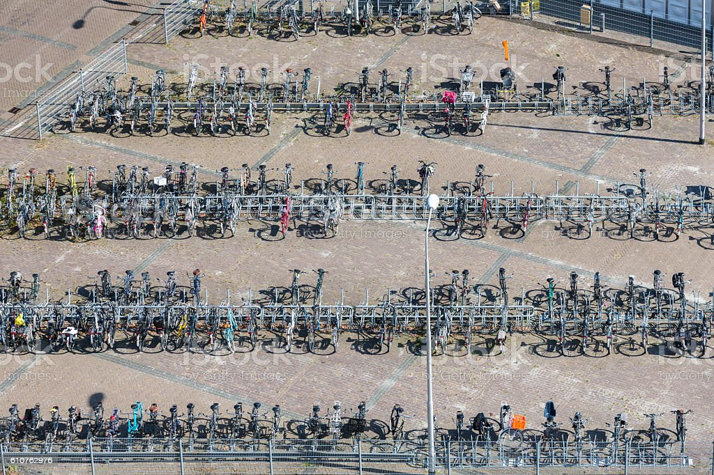 Aerial view bicycle storage in Dutch village Emmeloord stock photo