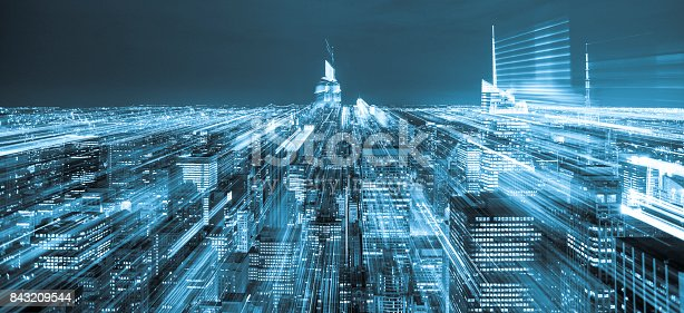 istock Aerial view blue city lights, New York City 843209544