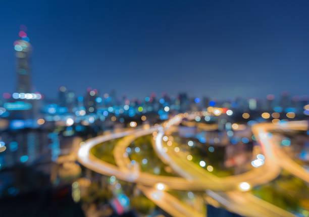 鳥瞰圖模糊散輕曼谷城市中心商業區圖像檔