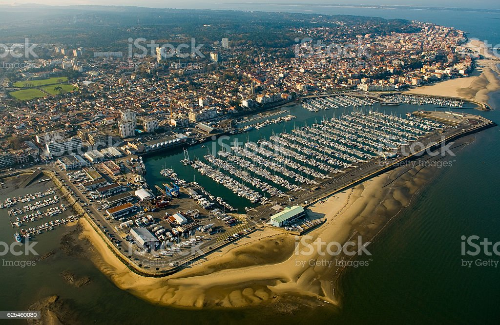 Aerial view, Boats parked in the Port of Arcachon, Aquitaine - Photo