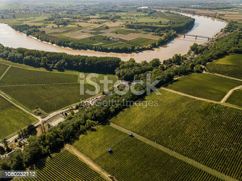 Aerial view Bordeaux Vineyard at sunrise, Entre deux mers, Langoiran, Gironde, France