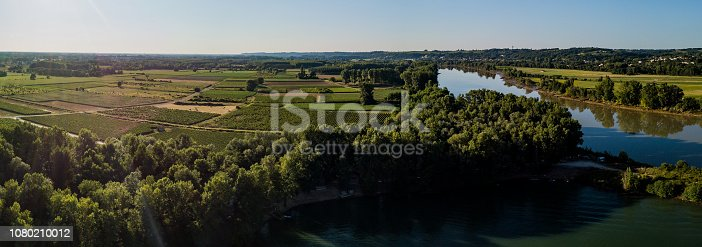 Aerial view Bordeaux Vineyard at sunrise,film by drone in summer, Entre deux mers, Langoiran