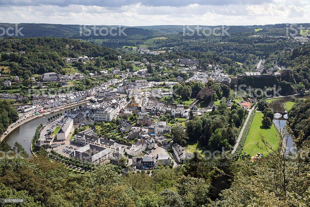 Aerial view Bouillon along river Semois in Belgian Ardennes - Photo