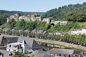 BOUILLON, BELGIUM - AUGUST 13, 2016: Aerial view Bouillon with medieval castle along river Semois in Belgian Ardennes