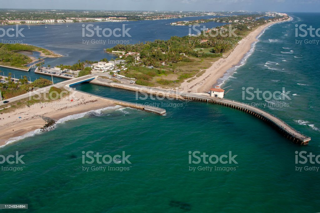 Aerial view Boynton Inlet stock photo