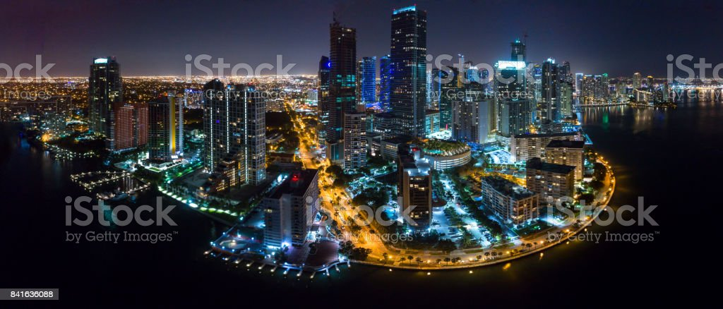 Aerial View Brickell at Night stock photo
