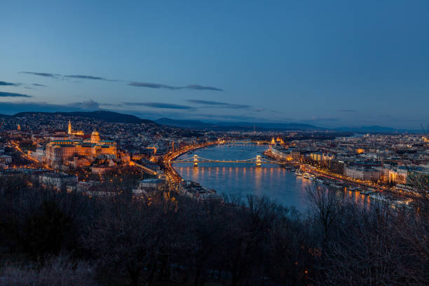 Aerial view Budapest, Hungary by evening. Buda castle, Chain bridge and Parliament building stock photo