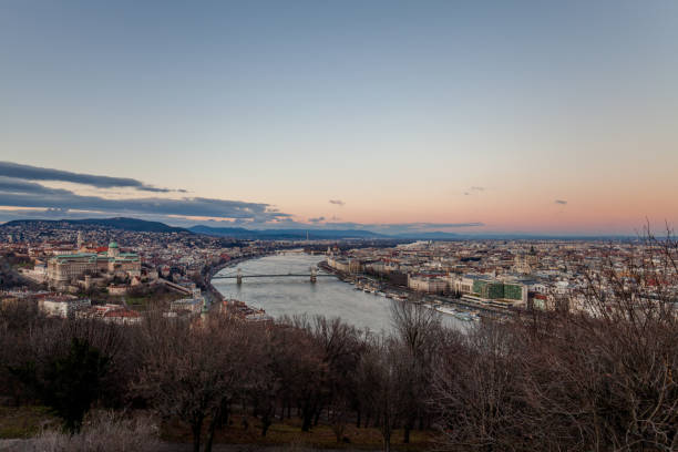 Aerial view Budapest, Hungary by sunset. Buda castle, Chain bridge and Parliament building stock photo