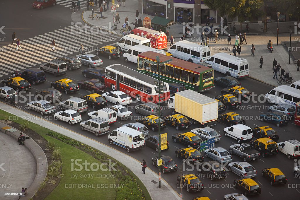 Aerial View Buenos Aires Argentina traffic near Obelisco royalty-free stock photo