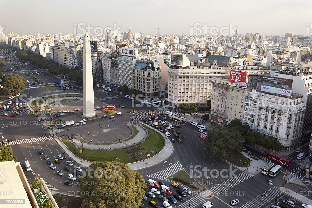 Aerial View Buenos Aires Argentina with Obelisco royalty-free stock photo